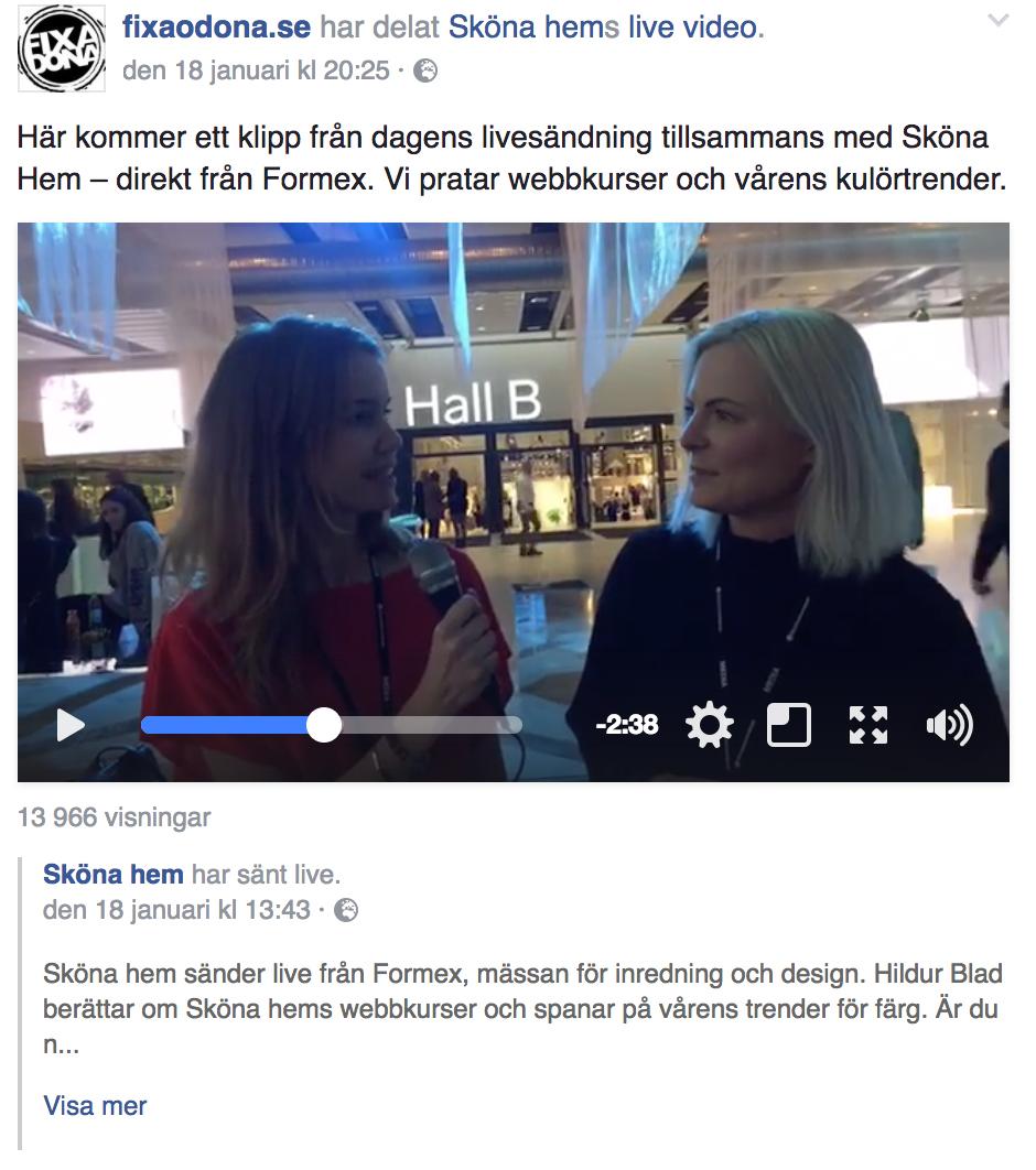 Sköna Hem Livesändning från Formex - fixaodona.se